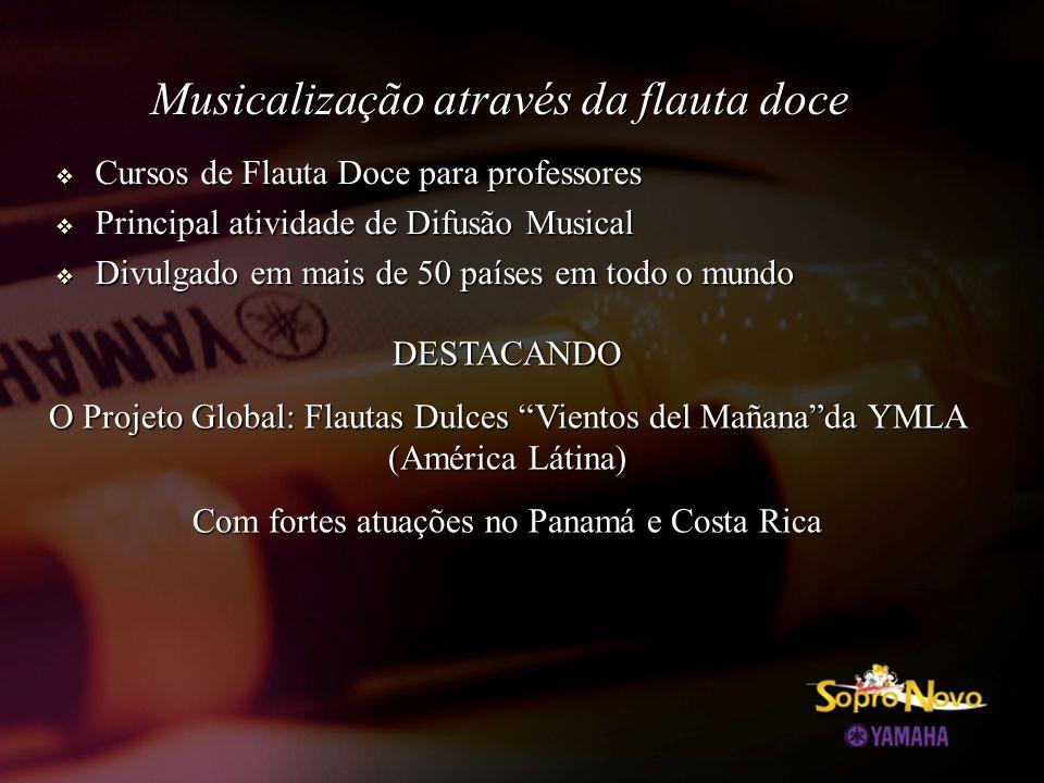  Cursos de Flauta Doce para professores  Principal atividade de Difusão Musical  Divulgado em mais de 50 países em todo o mundo Musicalização através da flauta doce DESTACANDO O Projeto Global: Flautas Dulces Vientos del Mañana da YMLA (América Látina) Com fortes atuações no Panamá e Costa Rica