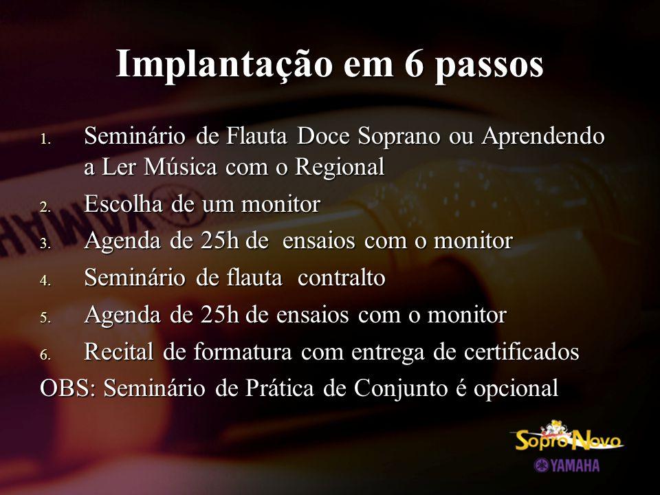 Implantação em 6 passos 1. Seminário de Flauta Doce Soprano ou Aprendendo a Ler Música com o Regional 2. Escolha de um monitor 3. Agenda de 25h de ens