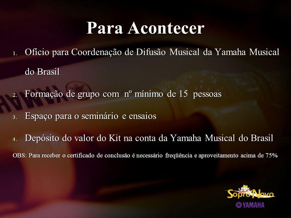 1. Ofício para Coordenação de Difusão Musical da Yamaha Musical do Brasil 2. Formação de grupo com nº mínimo de 15 pessoas 3. Espaço para o seminário