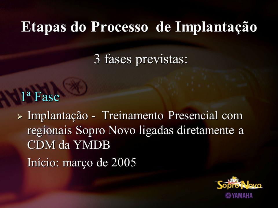 Etapas do Processo de Implantação 3 fases previstas: 3 fases previstas: 1ª Fase 1ª Fase  Implantação - Treinamento Presencial com regionais Sopro Novo ligadas diretamente a CDM da YMDB Início: março de 2005