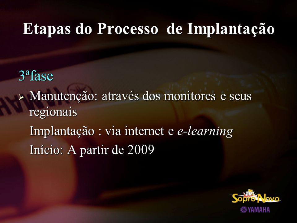 Etapas do Processo de Implantação 3ªfase  Manutenção: através dos monitores e seus regionais Implantação : via internet e e-learning Início: A partir de 2009