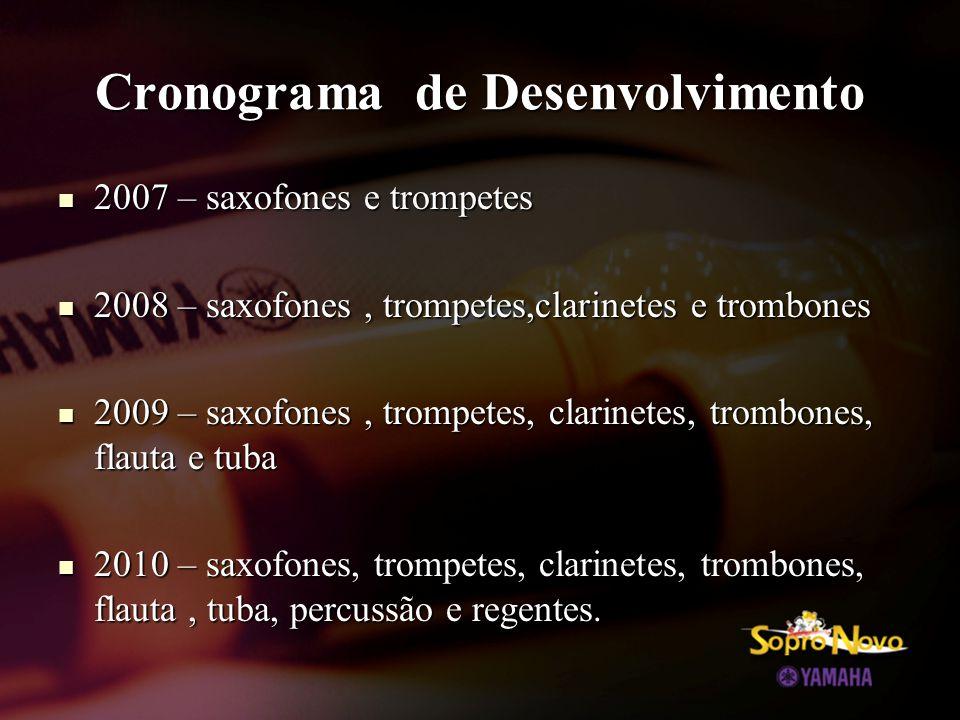 Cronograma de Desenvolvimento  2007 – saxofones e trompetes  2008 – saxofones, trompetes,clarinetes e trombones  2009 – saxofones, trompetes, clarinetes, trombones, flauta e tuba  2010 – saxofones, trompetes, clarinetes, trombones, flauta, tuba, percussão e regentes.