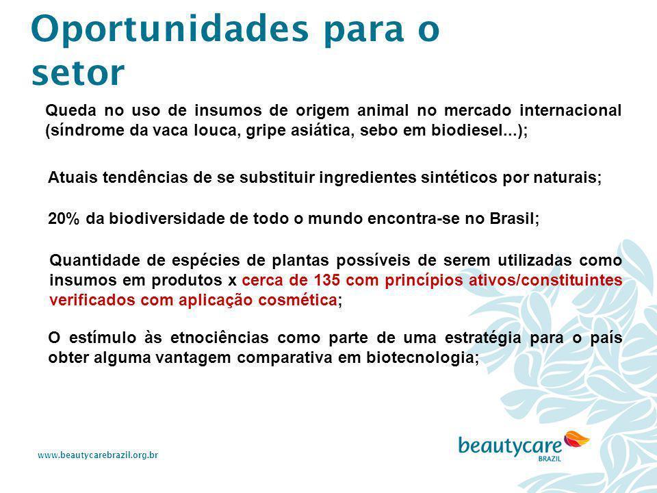 www.beautycarebrazil.org.br Queda no uso de insumos de origem animal no mercado internacional (síndrome da vaca louca, gripe asiática, sebo em biodies
