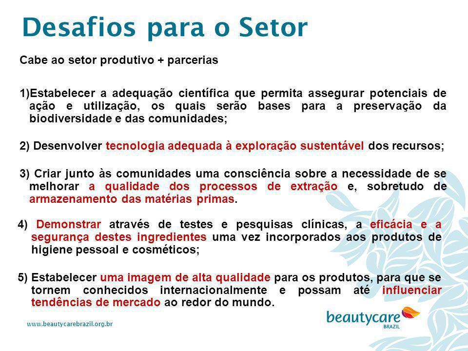 www.beautycarebrazil.org.br Cabe ao setor produtivo + parcerias 1)Estabelecer a adequação científica que permita assegurar potenciais de ação e utiliz