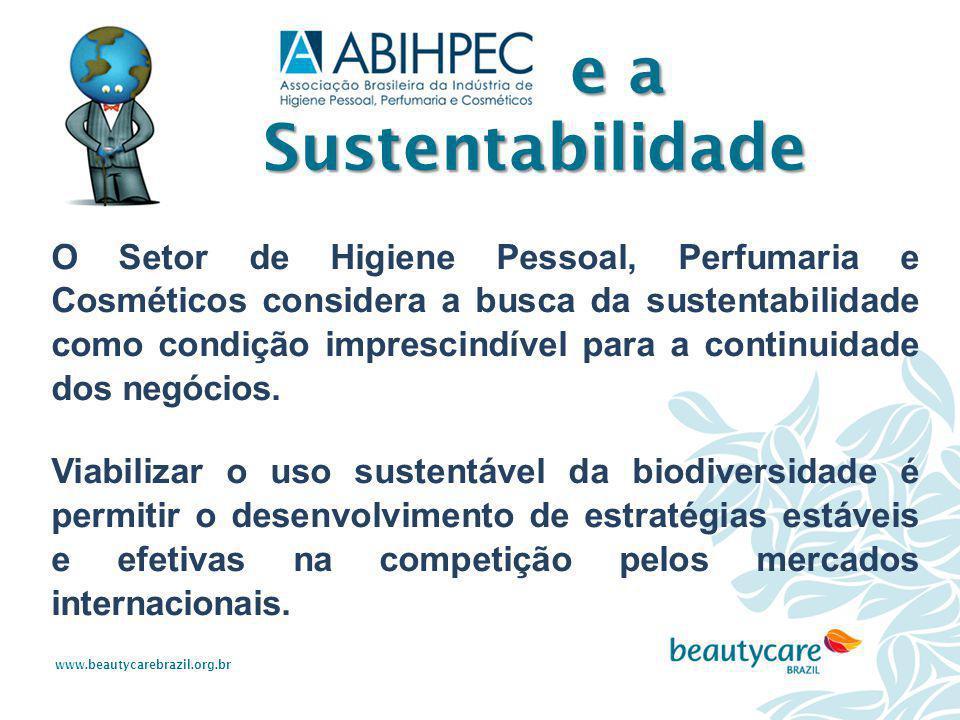www.beautycarebrazil.org.br O Setor de Higiene Pessoal, Perfumaria e Cosméticos considera a busca da sustentabilidade como condição imprescindível par