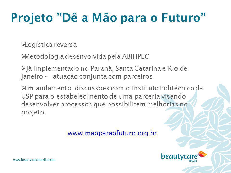 """www.beautycarebrazil.org.br Projeto """"Dê a Mão para o Futuro""""  Logística reversa  Metodologia desenvolvida pela ABIHPEC  Já implementado no Paraná,"""