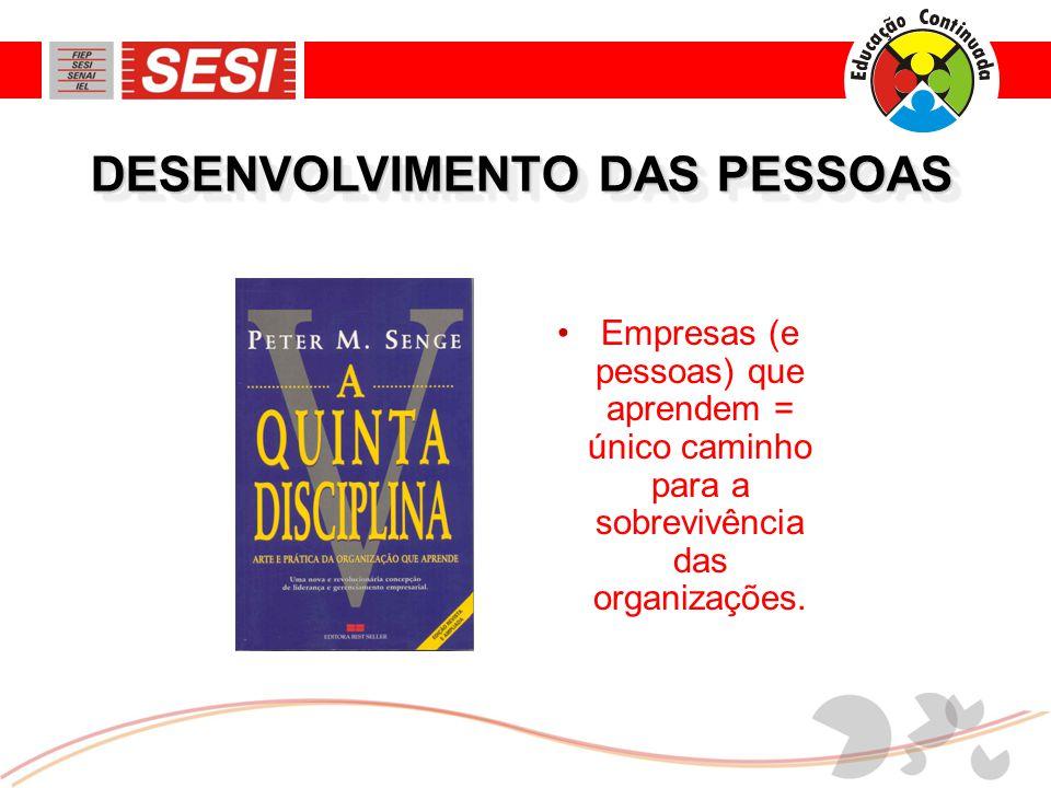 DESENVOLVIMENTO DAS PESSOAS •Empresas (e pessoas) que aprendem = único caminho para a sobrevivência das organizações.