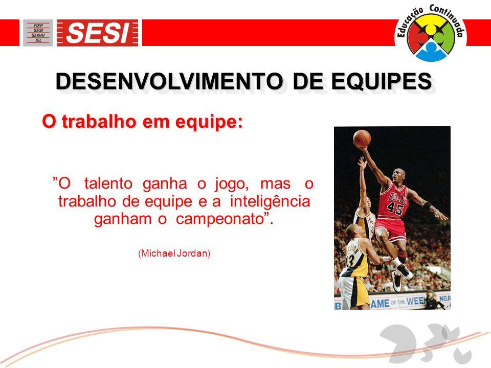DESENVOLVIMENTO DE EQUIPES O talento ganha o jogo, mas o trabalho de equipe e a inteligência ganham o campeonato .