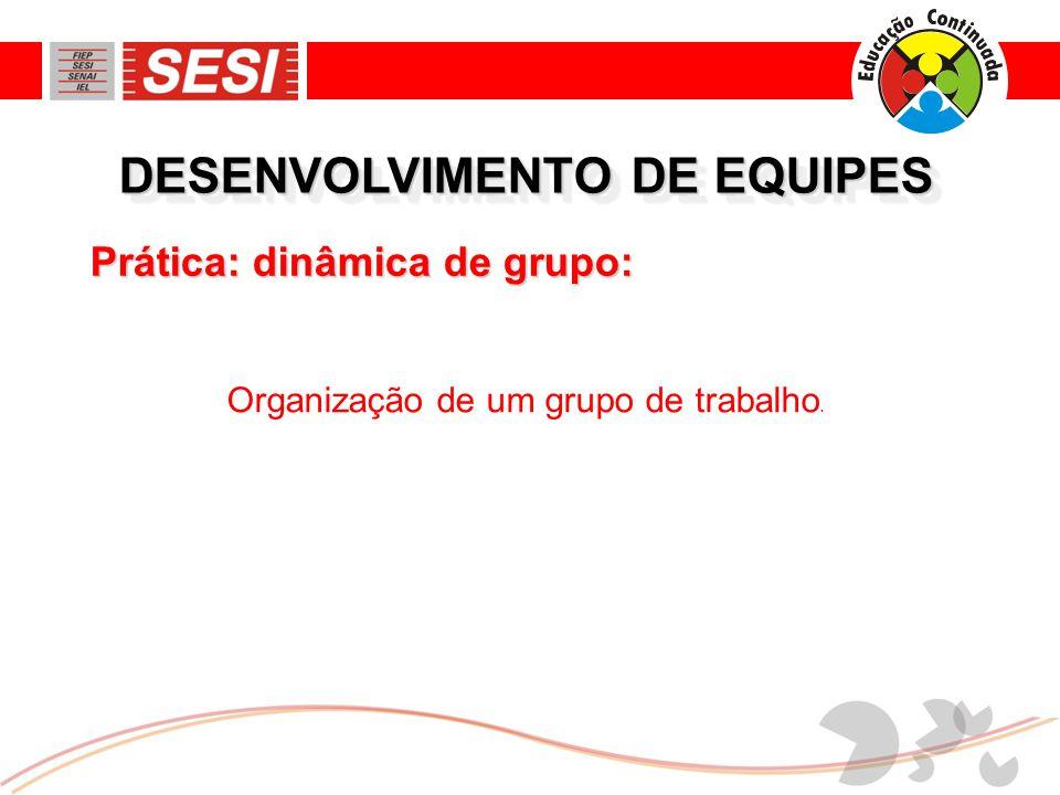 DESENVOLVIMENTO DE EQUIPES Organização de um grupo de trabalho. Prática: dinâmica de grupo: