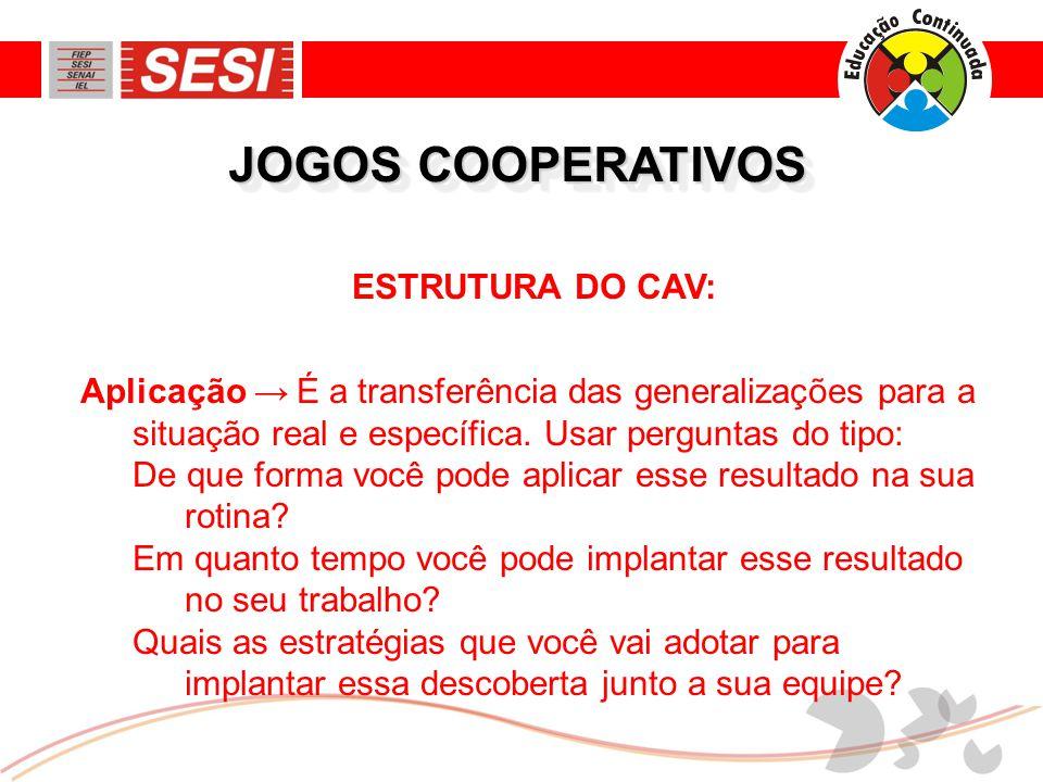 JOGOS COOPERATIVOS ESTRUTURA DO CAV: Aplicação → É a transferência das generalizações para a situação real e específica.