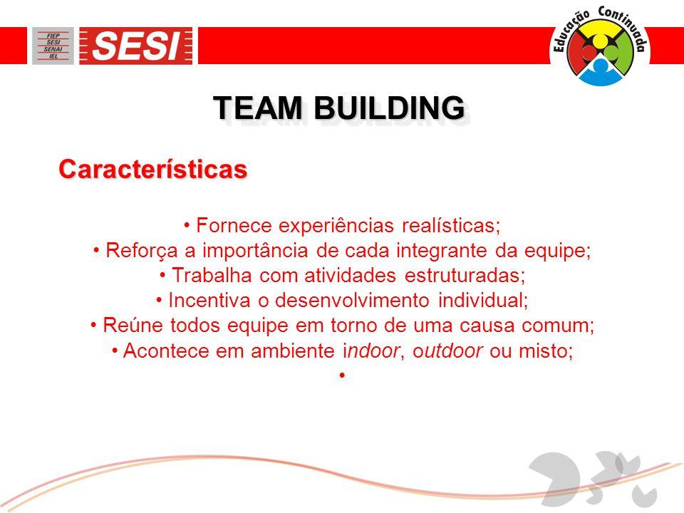 TEAM BUILDING • Fornece experiências realísticas; • Reforça a importância de cada integrante da equipe; • Trabalha com atividades estruturadas; • Incentiva o desenvolvimento individual; • Reúne todos equipe em torno de uma causa comum; • Acontece em ambiente indoor, outdoor ou misto; • Características