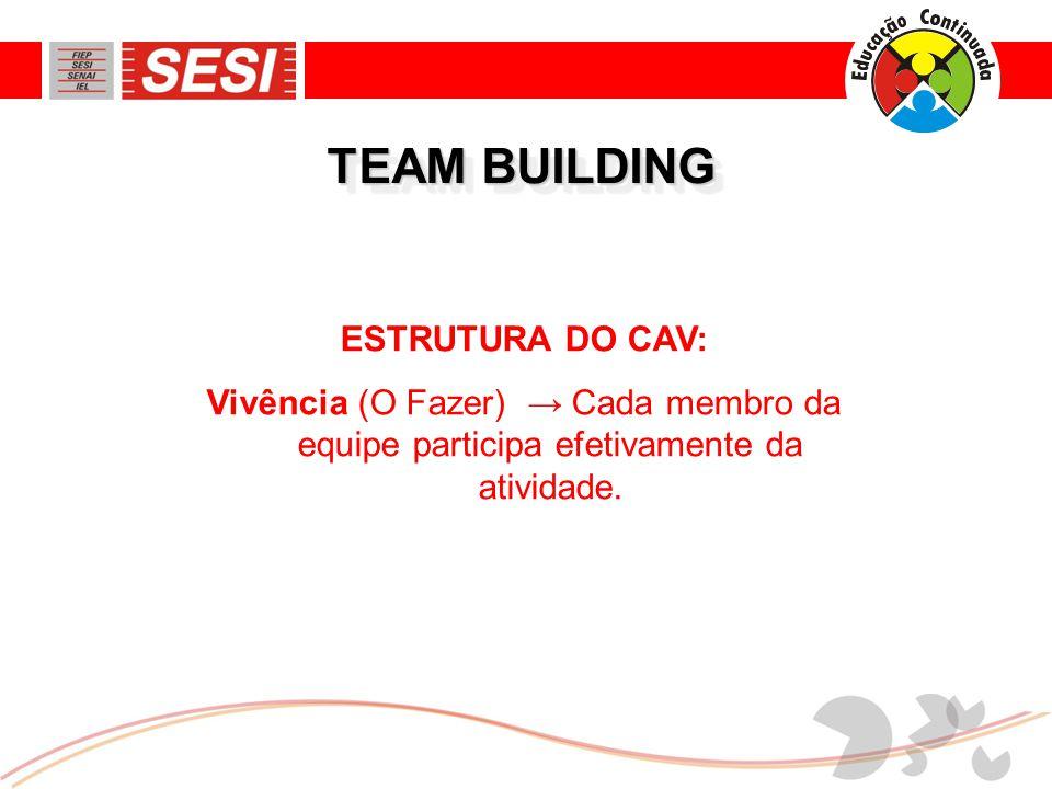 ESTRUTURA DO CAV: Vivência (O Fazer) → Cada membro da equipe participa efetivamente da atividade.
