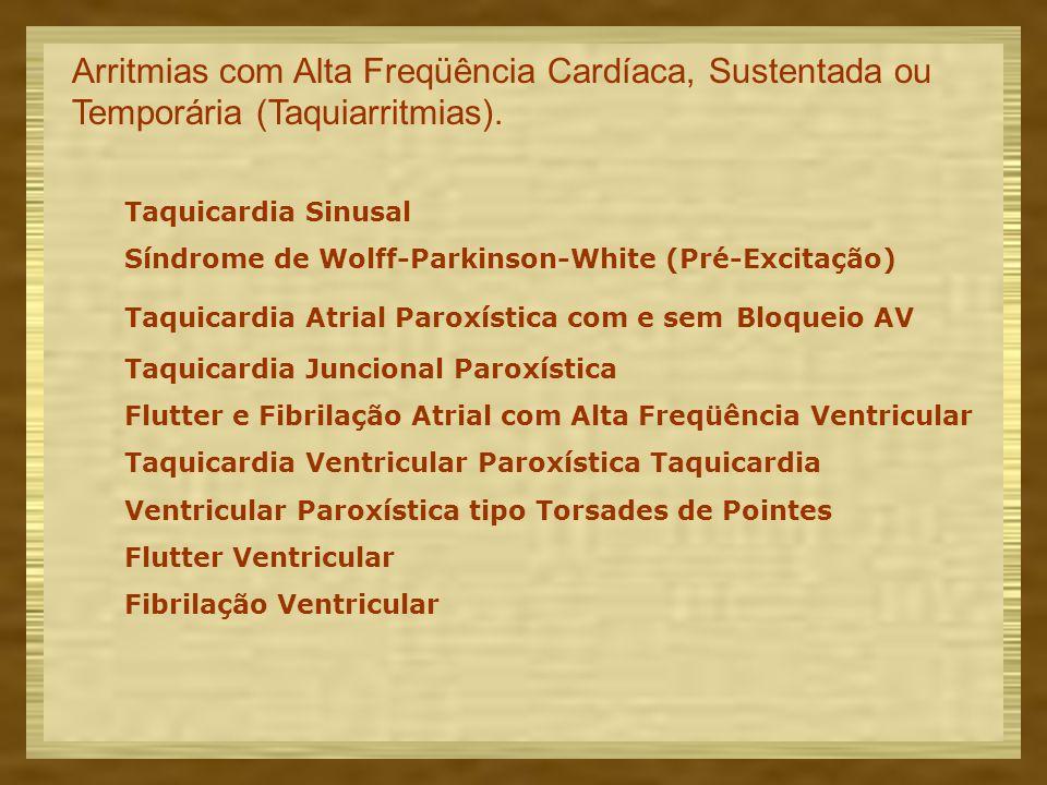 Arritmias com Alta Freqüência Cardíaca, Sustentada ou Temporária (Taquiarritmias).