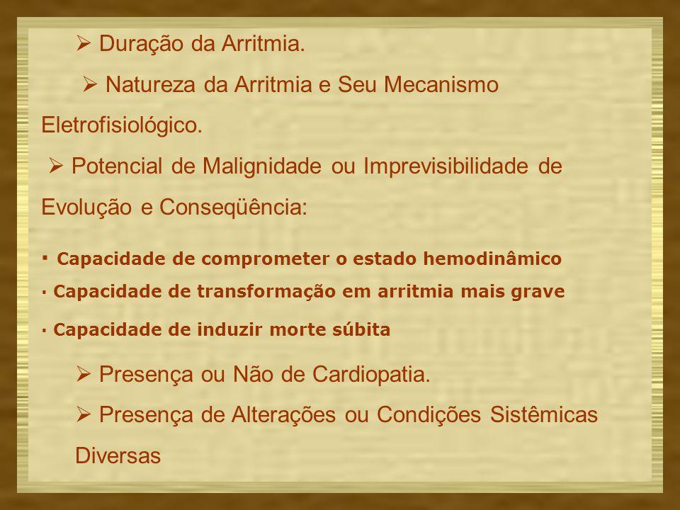  Duração da Arritmia. Natureza da Arritmia e Seu Mecanismo Eletrofisiológico.
