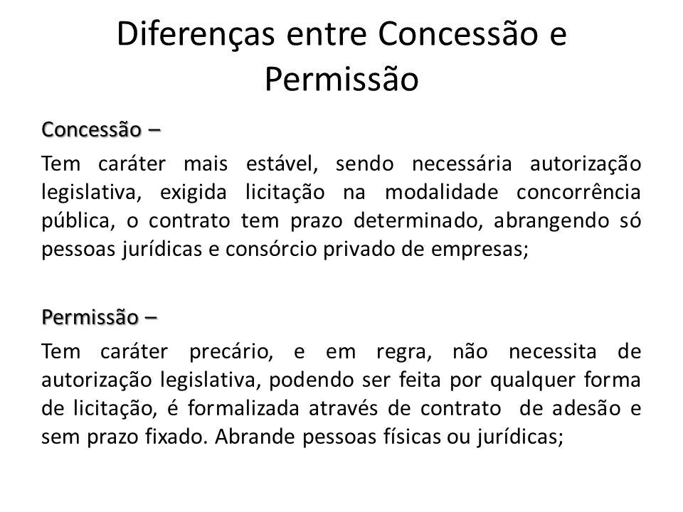 Diferenças entre Concessão e Permissão Concessão – Tem caráter mais estável, sendo necessária autorização legislativa, exigida licitação na modalidade