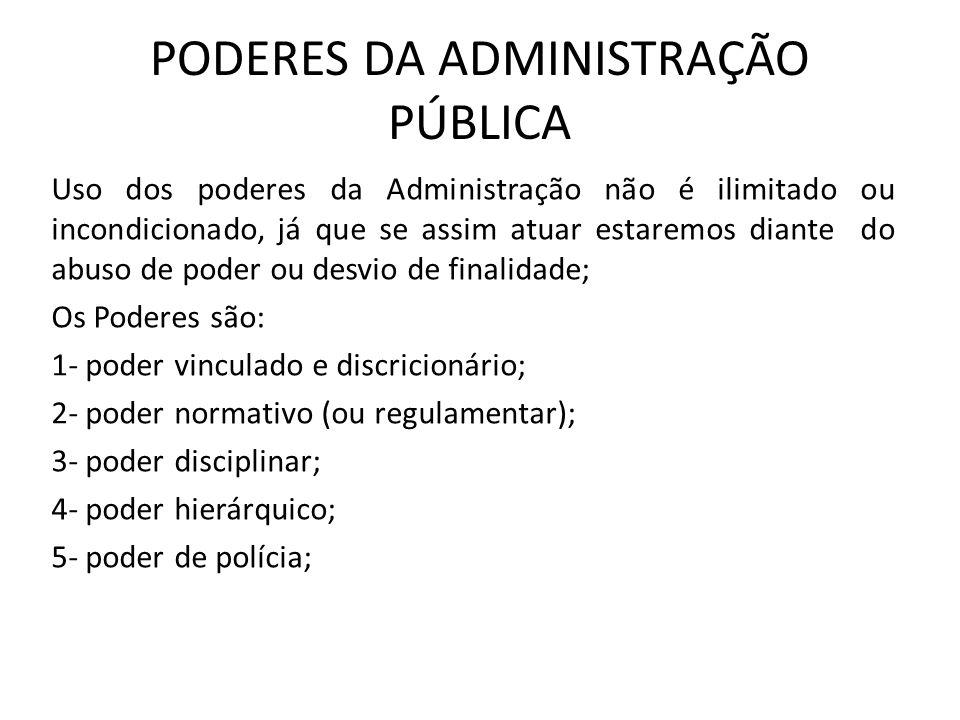 PODERES DA ADMINISTRAÇÃO PÚBLICA Uso dos poderes da Administração não é ilimitado ou incondicionado, já que se assim atuar estaremos diante do abuso d