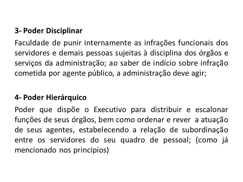 3- Poder Disciplinar Faculdade de punir internamente as infrações funcionais dos servidores e demais pessoas sujeitas à disciplina dos órgãos e serviç