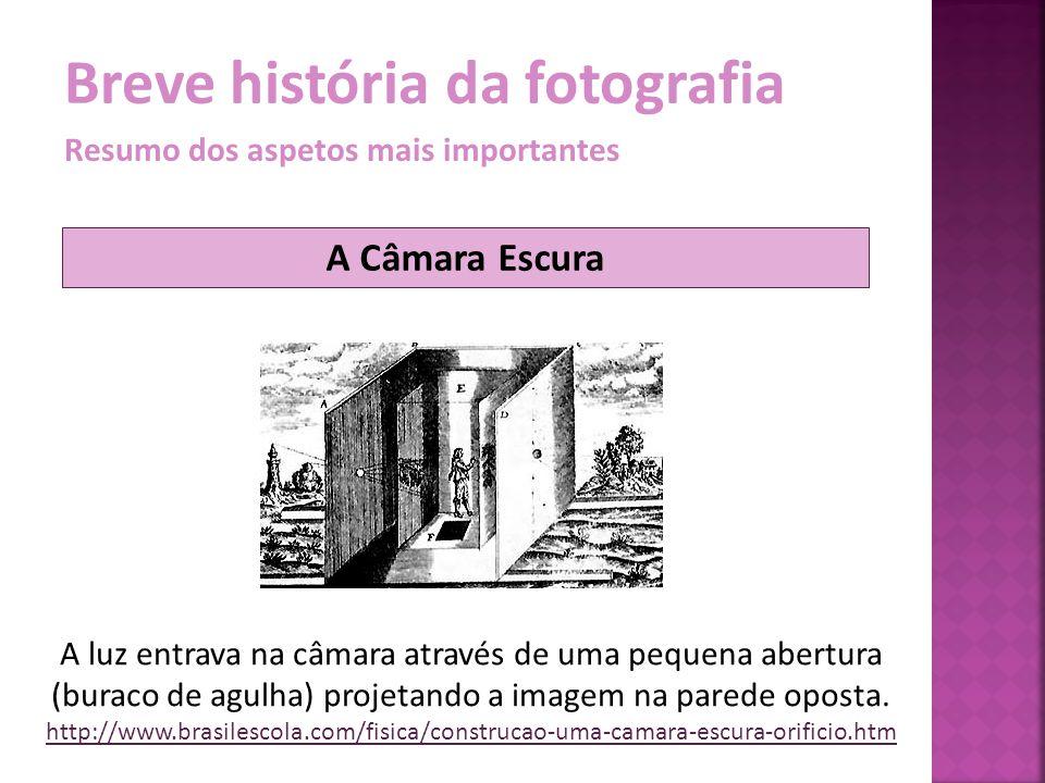 Breve história da fotografia Resumo dos aspetos mais importantes A luz entrava na câmara através de uma pequena abertura (buraco de agulha) projetando