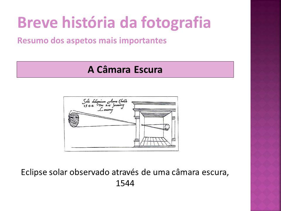 Breve história da fotografia Resumo dos aspetos mais importantes A luz entrava na câmara através de uma pequena abertura (buraco de agulha) projetando a imagem na parede oposta.