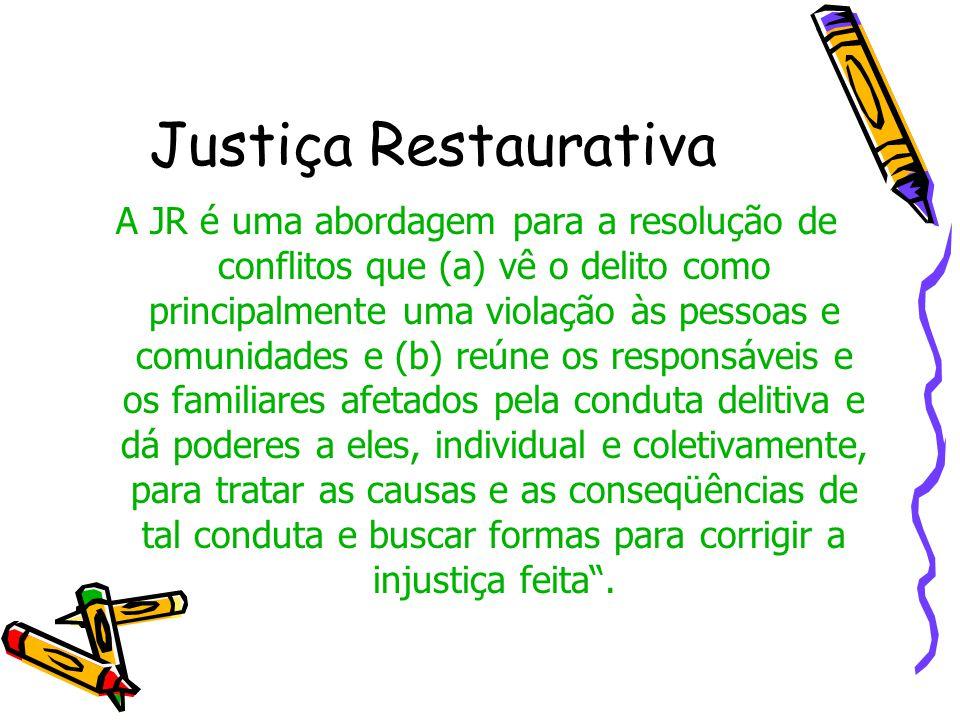 Justiça Restaurativa A JR é uma abordagem para a resolução de conflitos que (a) vê o delito como principalmente uma violação às pessoas e comunidades