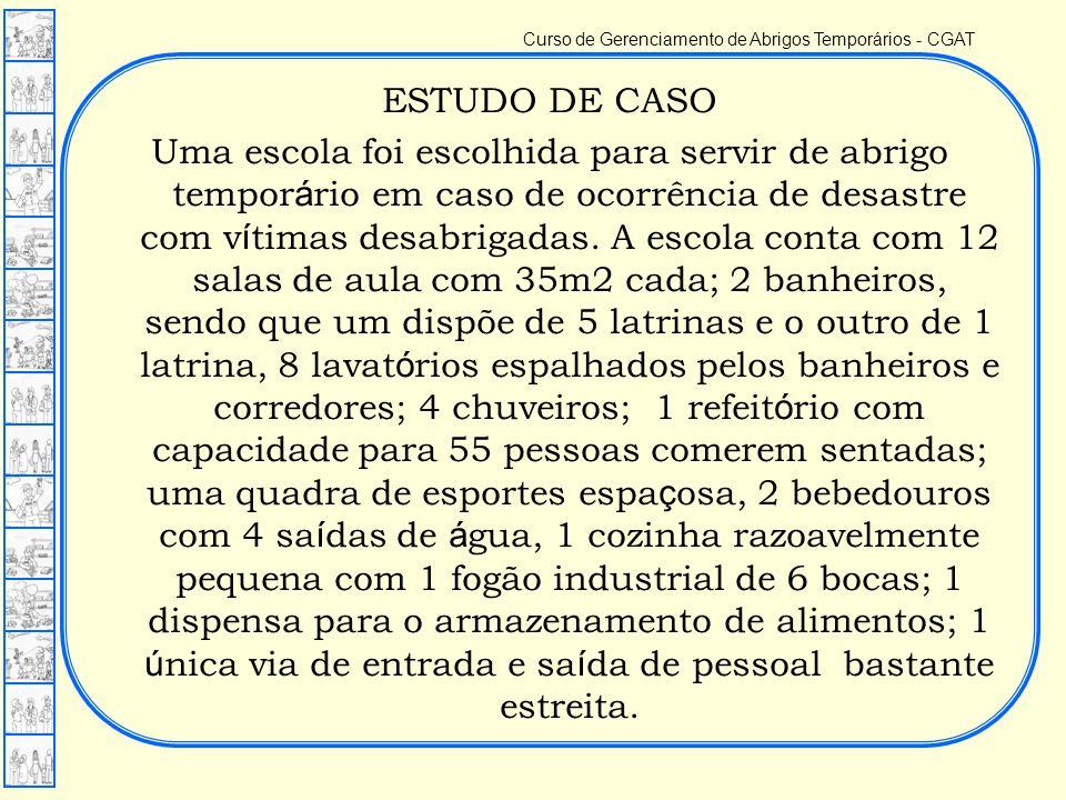 Curso de Gerenciamento de Abrigos Temporários - CGAT ESTUDO DE CASO Uma escola foi escolhida para servir de abrigo tempor á rio em caso de ocorrência