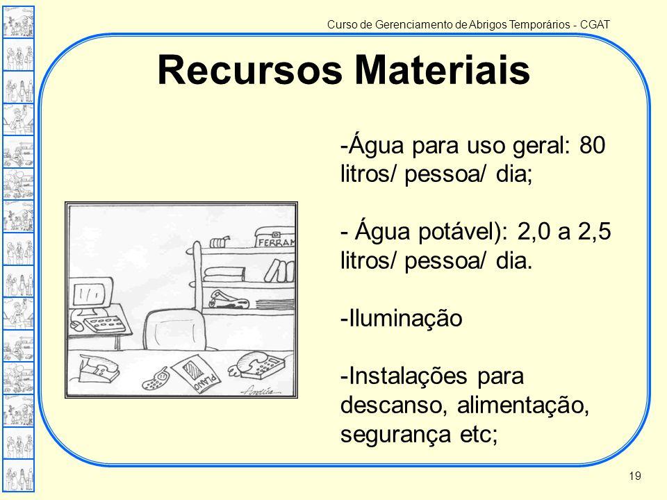 Curso de Gerenciamento de Abrigos Temporários - CGAT Recursos Materiais -Água para uso geral: 80 litros/ pessoa/ dia; - Água potável): 2,0 a 2,5 litro