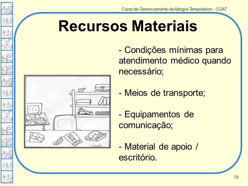 Curso de Gerenciamento de Abrigos Temporários - CGAT Recursos Materiais - Condições mínimas para atendimento médico quando necessário; - Meios de tran