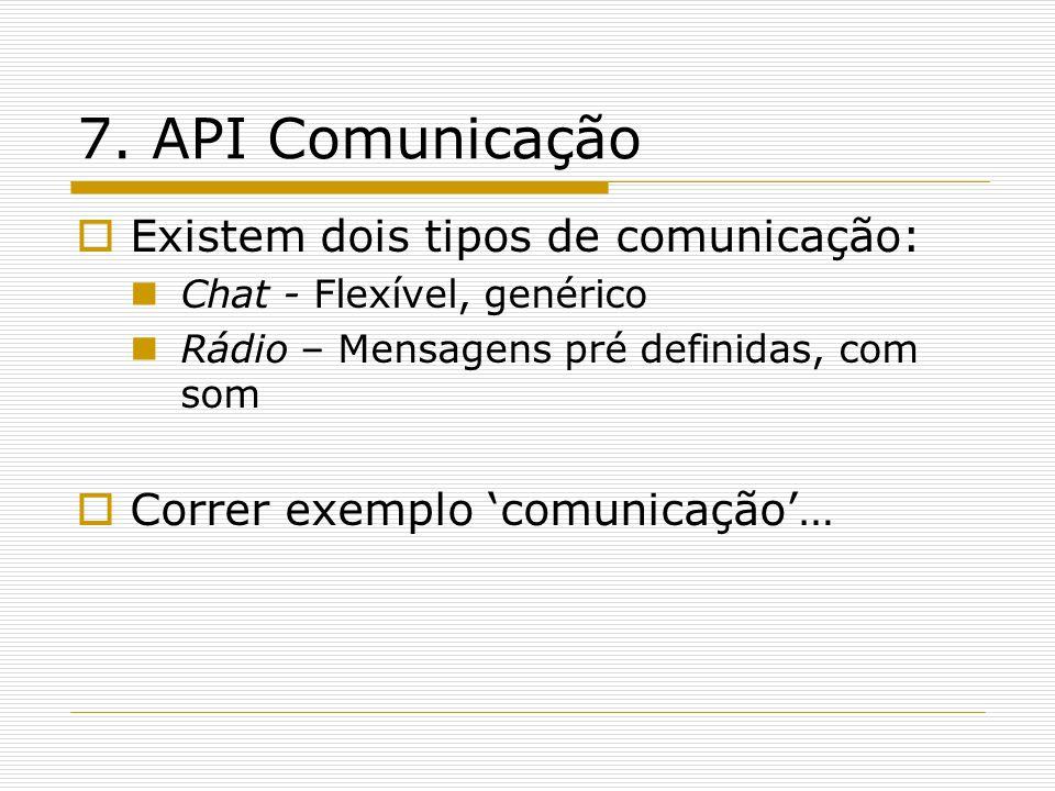 7. API Comunicação  Existem dois tipos de comunicação:  Chat - Flexível, genérico  Rádio – Mensagens pré definidas, com som  Correr exemplo 'comun