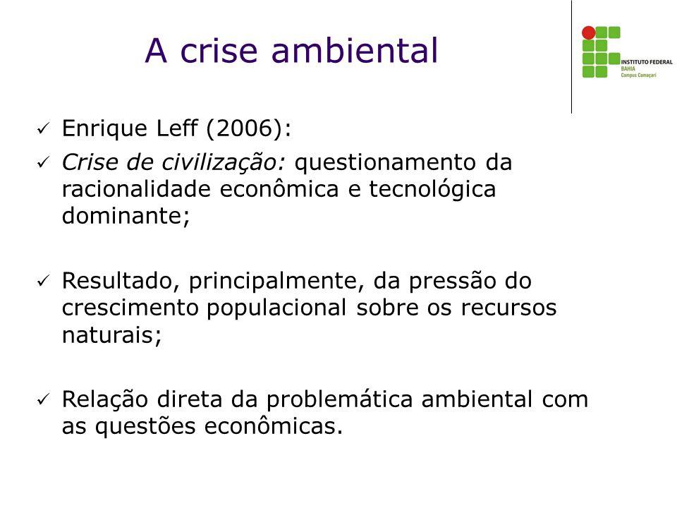 A crise ambiental  Enrique Leff (2006):  Crise de civilização: questionamento da racionalidade econômica e tecnológica dominante;  Resultado, principalmente, da pressão do crescimento populacional sobre os recursos naturais;  Relação direta da problemática ambiental com as questões econômicas.