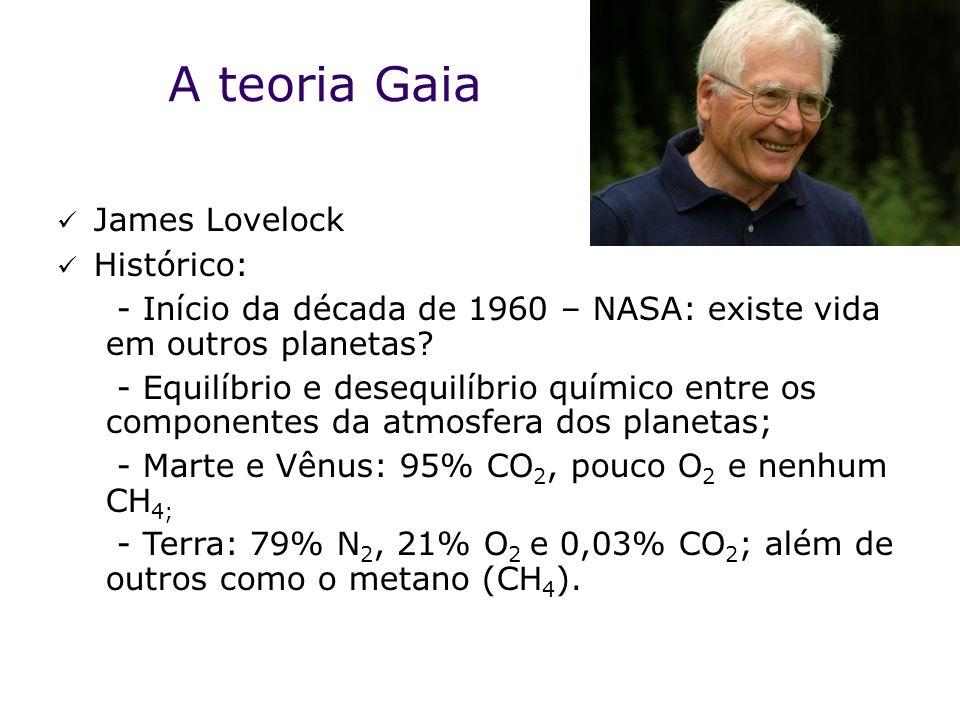 A teoria Gaia  James Lovelock  Histórico: - Início da década de 1960 – NASA: existe vida em outros planetas.