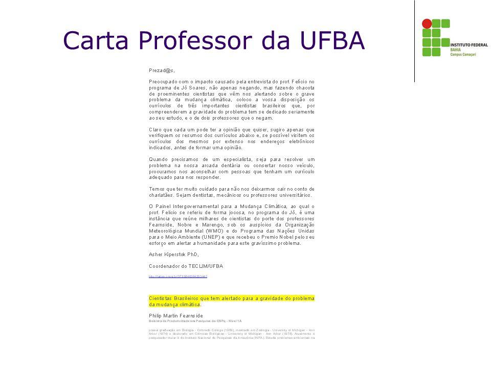 Carta Professor da UFBA