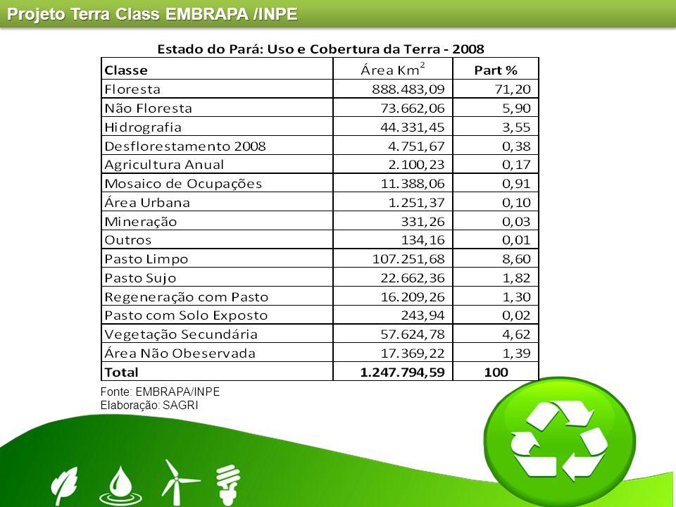 Fonte: EMBRAPA/INPE Elaboração: SAGRI Projeto Terra Class EMBRAPA /INPE