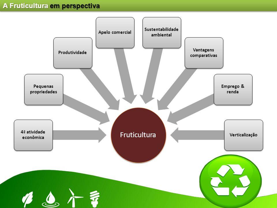 A Fruticultura em perspectiva Fruticultura 4ª atividade econômica Pequenas propriedades ProdutividadeApelo comercial Sustentabilidade ambiental Vantag