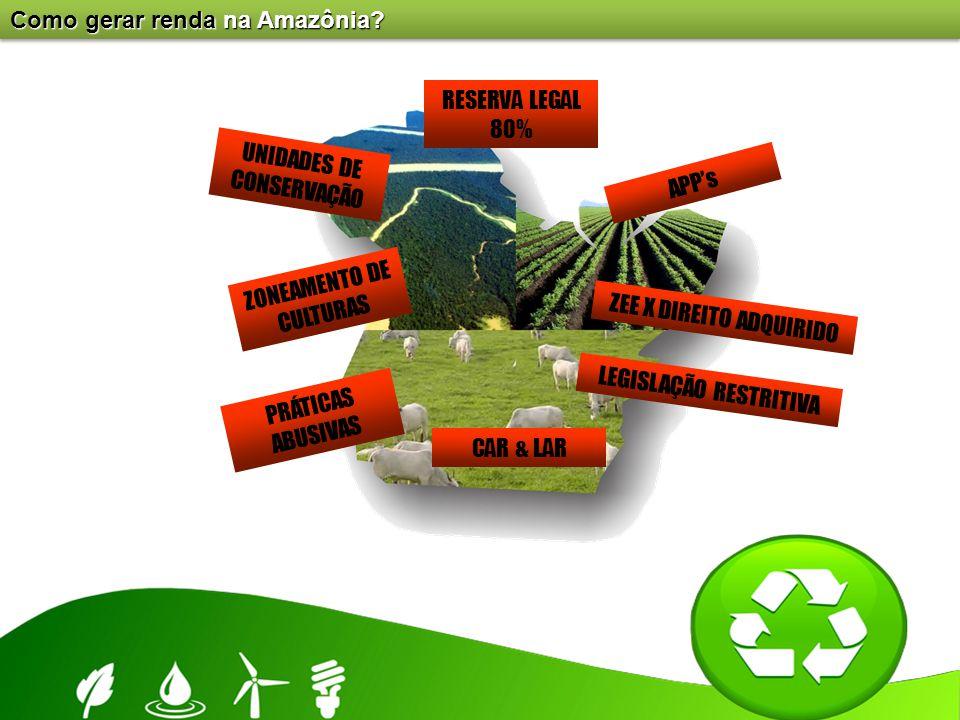 Como gerar renda na Amazônia? RESERVA LEGAL 80% APP's ZEE X DIREITO ADQUIRIDO CAR & LAR ZONEAMENTO DE CULTURAS UNIDADES DE CONSERVAÇÃO PRÁTICAS ABUSIV
