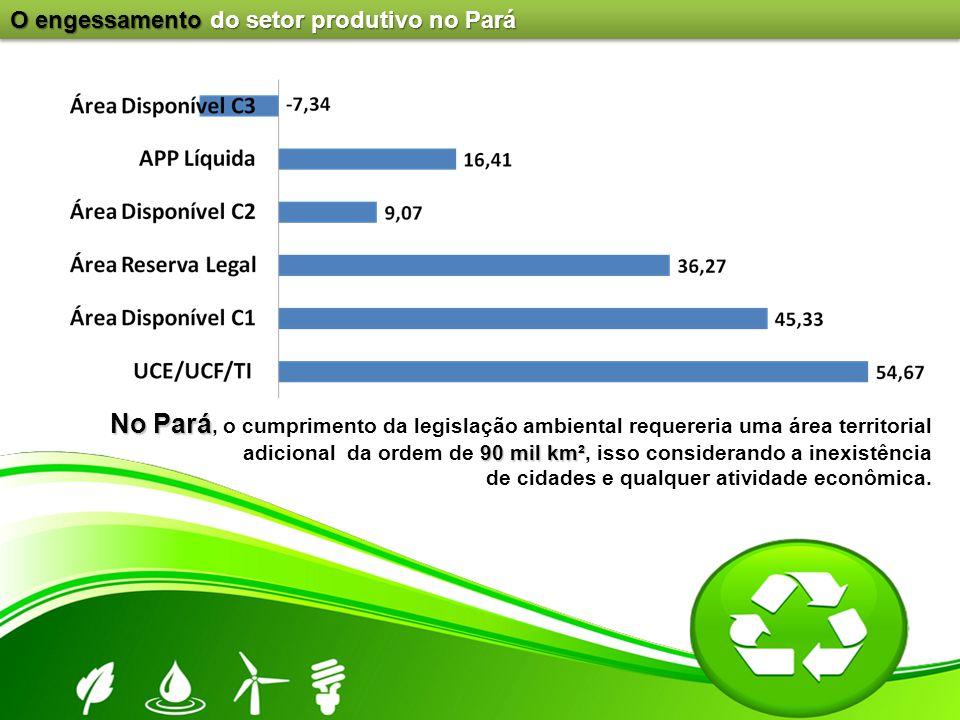 No Pará 90 mil km² No Pará, o cumprimento da legislação ambiental requereria uma área territorial adicional da ordem de 90 mil km², isso considerando
