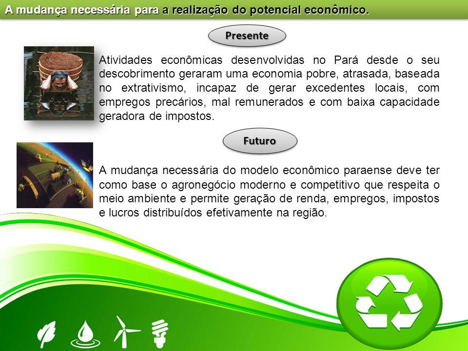 A mudança necessária para a realização do potencial econômico. Atividades econômicas desenvolvidas no Pará desde o seu descobrimento geraram uma econo