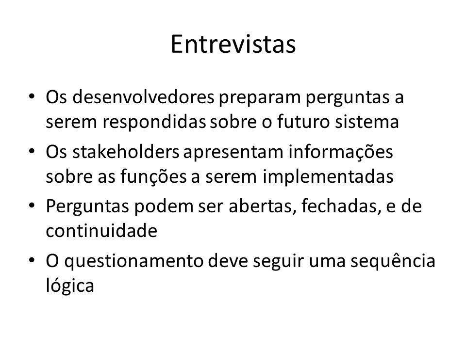 Entrevistas • Os desenvolvedores preparam perguntas a serem respondidas sobre o futuro sistema • Os stakeholders apresentam informações sobre as funçõ