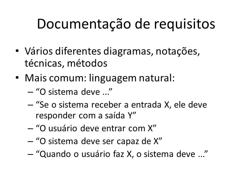 """Documentação de requisitos • Vários diferentes diagramas, notações, técnicas, métodos • Mais comum: linguagem natural: – """"O sistema deve..."""" – """"Se o s"""