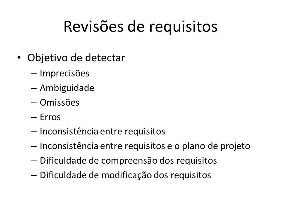 Revisões de requisitos • Objetivo de detectar – Imprecisões – Ambiguidade – Omissões – Erros – Inconsistência entre requisitos – Inconsistência entre