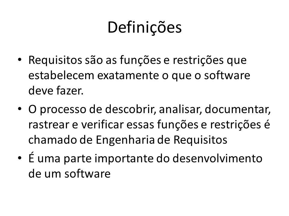 Definições • Requisitos são as funções e restrições que estabelecem exatamente o que o software deve fazer. • O processo de descobrir, analisar, docum