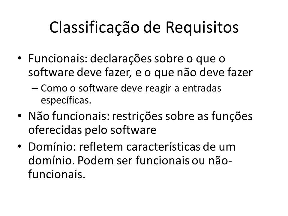 Classificação de Requisitos • Funcionais: declarações sobre o que o software deve fazer, e o que não deve fazer – Como o software deve reagir a entrad