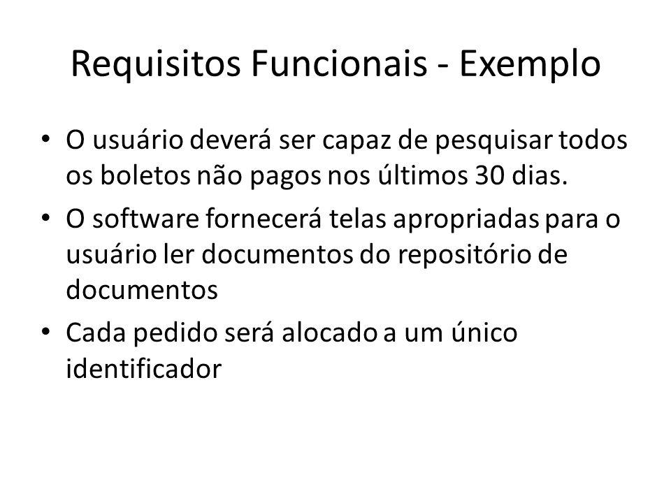 Requisitos Funcionais - Exemplo • O usuário deverá ser capaz de pesquisar todos os boletos não pagos nos últimos 30 dias. • O software fornecerá telas