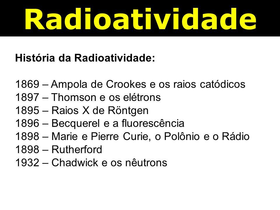 História da Radioatividade: 1869 – Ampola de Crookes e os raios catódicos 1897 – Thomson e os elétrons 1895 – Raios X de Röntgen 1896 – Becquerel e a fluorescência 1898 – Marie e Pierre Curie, o Polônio e o Rádio 1898 – Rutherford 1932 – Chadwick e os nêutrons