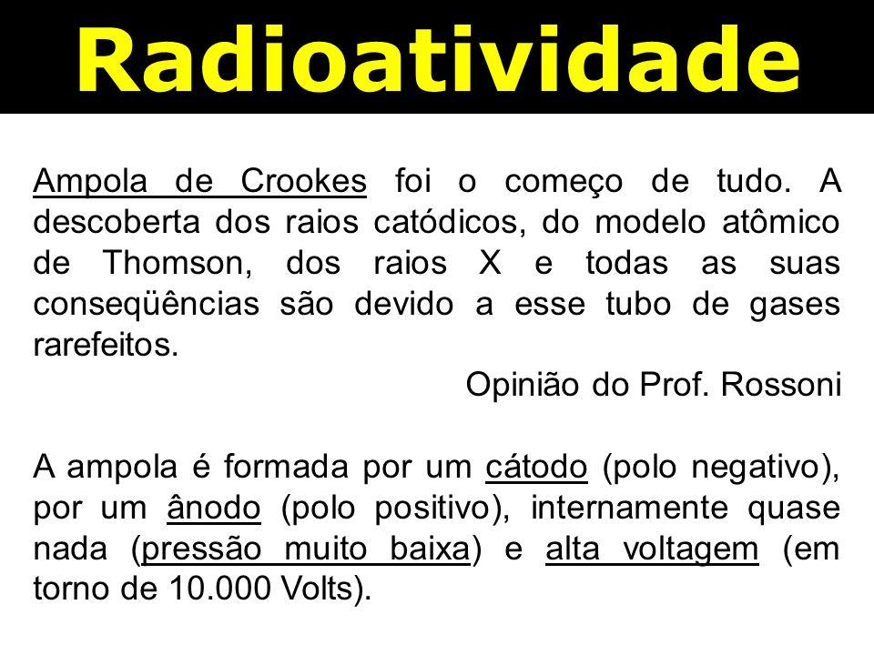 Radioatividade Ampola de Crookes foi o começo de tudo.