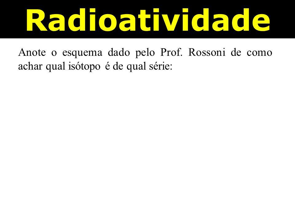 Radioatividade Anote o esquema dado pelo Prof. Rossoni de como achar qual isótopo é de qual série: