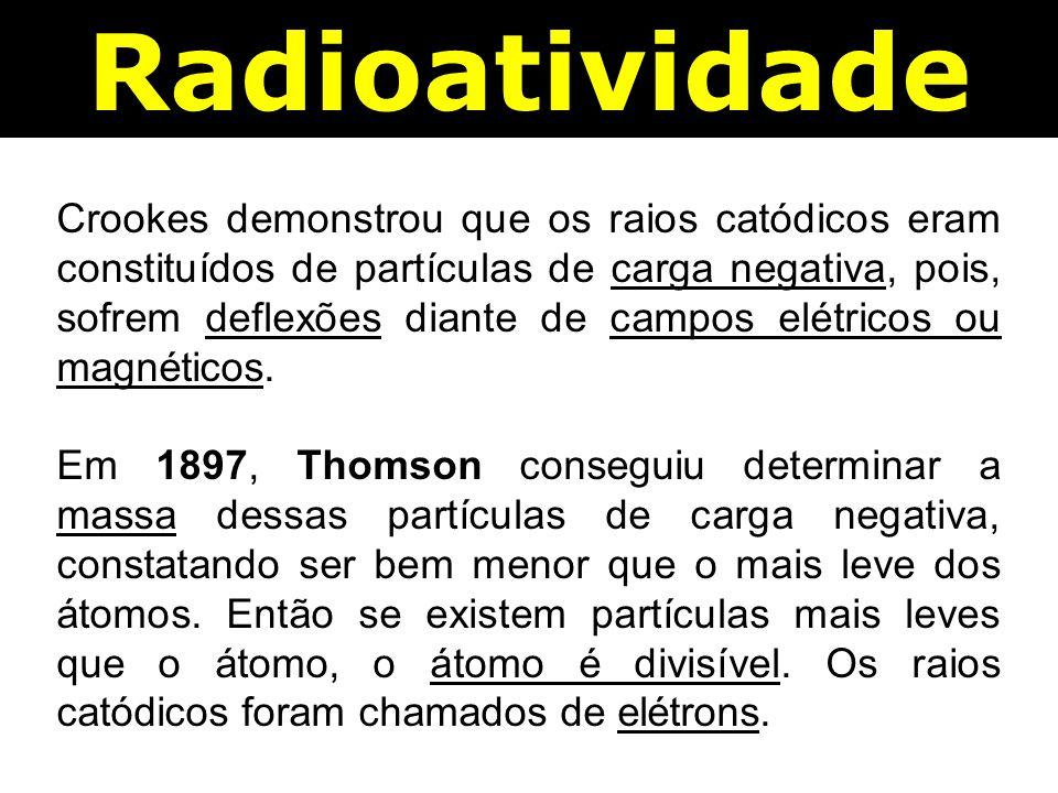 Radioatividade Crookes demonstrou que os raios catódicos eram constituídos de partículas de carga negativa, pois, sofrem deflexões diante de campos elétricos ou magnéticos.