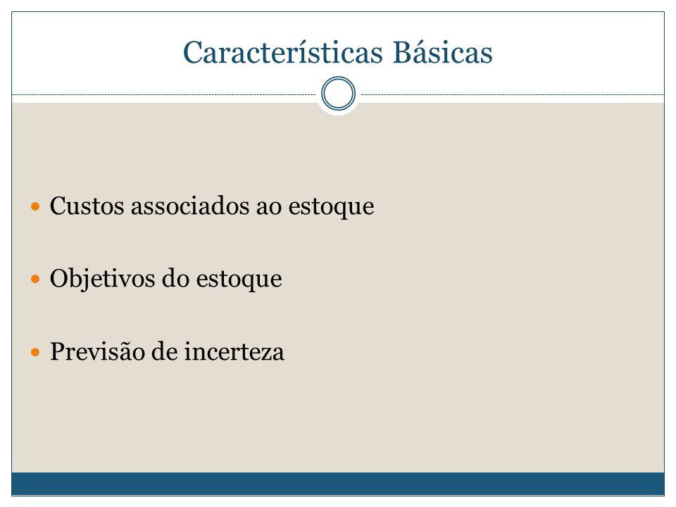 Características Básicas  Custos associados ao estoque  Objetivos do estoque  Previsão de incerteza