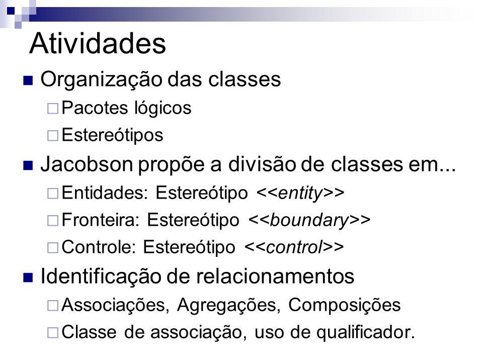 Atividades  Organização das classes  Pacotes lógicos  Estereótipos  Jacobson propõe a divisão de classes em...