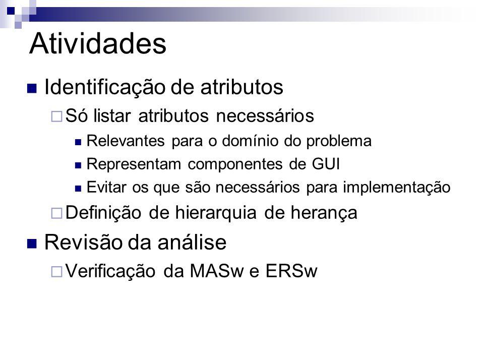 Atividades  Identificação de atributos  Só listar atributos necessários  Relevantes para o domínio do problema  Representam componentes de GUI  Evitar os que são necessários para implementação  Definição de hierarquia de herança  Revisão da análise  Verificação da MASw e ERSw