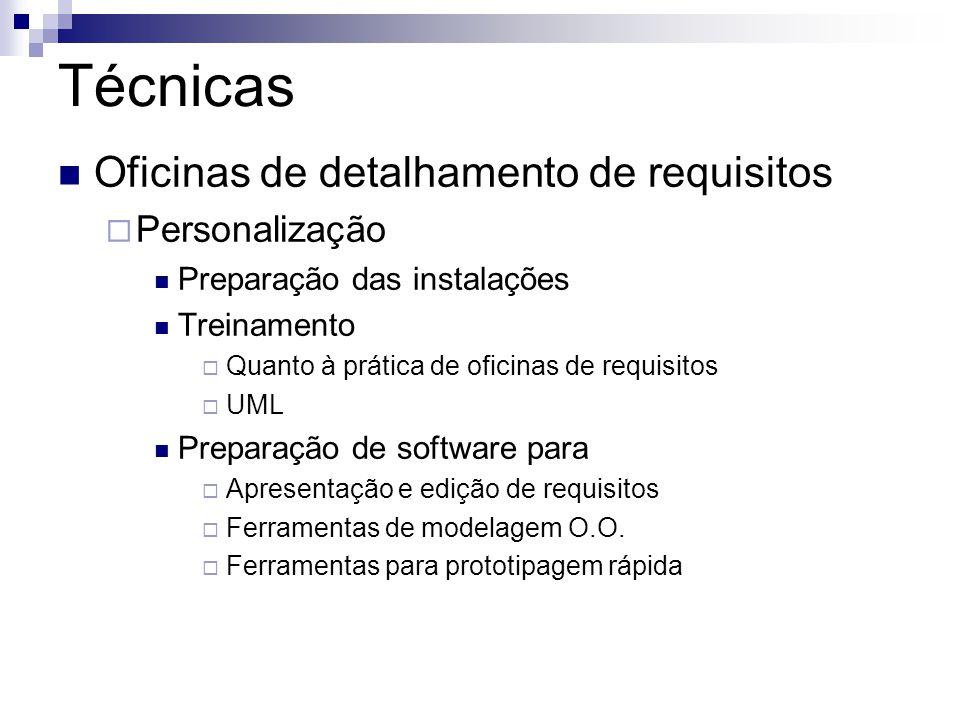 Técnicas  Oficinas de detalhamento de requisitos  Personalização  Preparação das instalações  Treinamento  Quanto à prática de oficinas de requisitos  UML  Preparação de software para  Apresentação e edição de requisitos  Ferramentas de modelagem O.O.